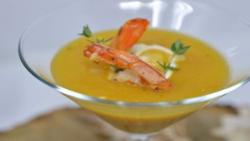 Carrots and Ginger Cream with Steamed Shrimps
