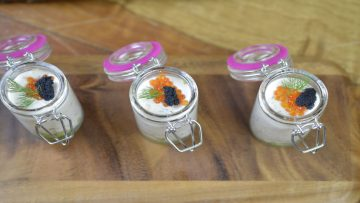 Salmon mousse with cucumber salad, caviar and rose liqueur