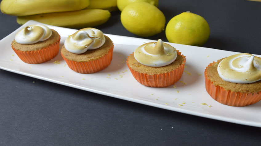 Banana and lemon cupcakes