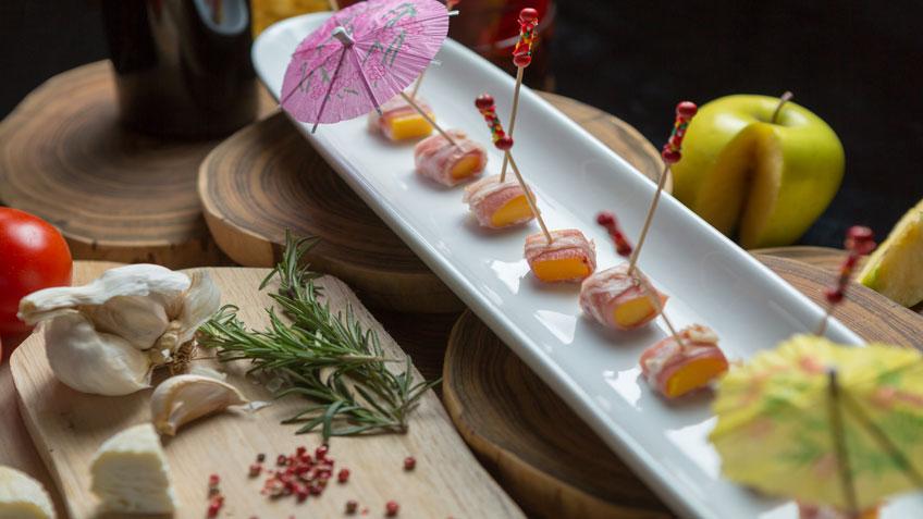 Mango, lardo and bacon rolls